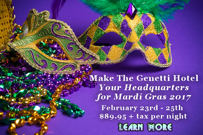Williamsport PA Mardi Gras Packages at Genetti Hotel and Suites