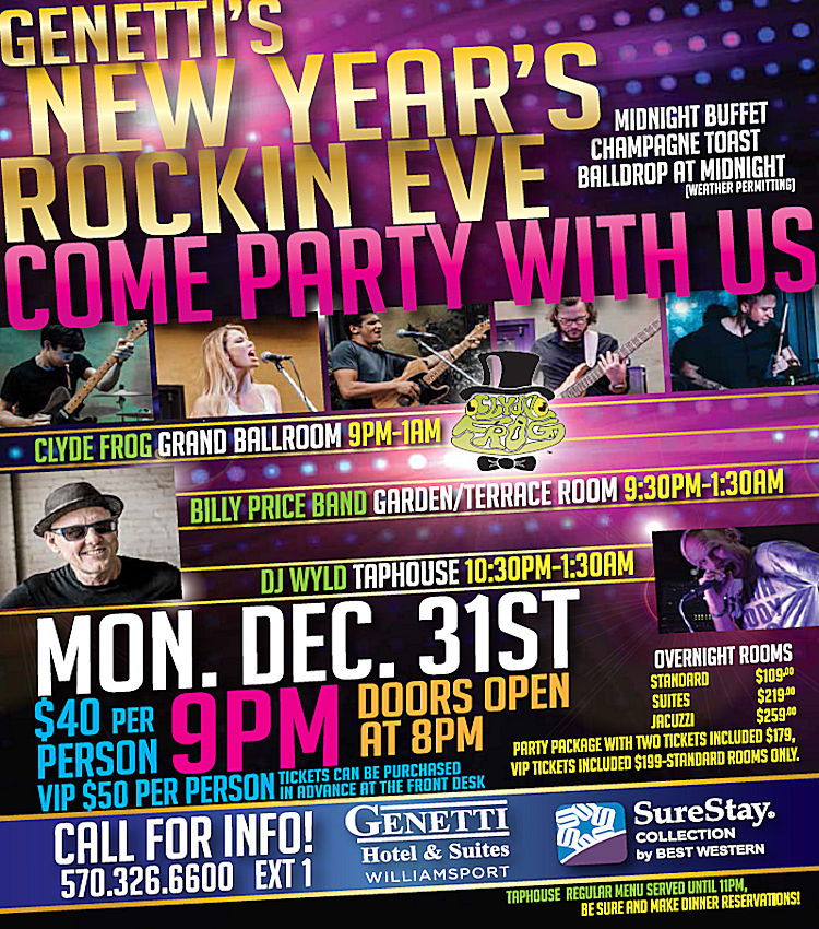New Year's Eve at The Genetti Hotel in Williamsport PA