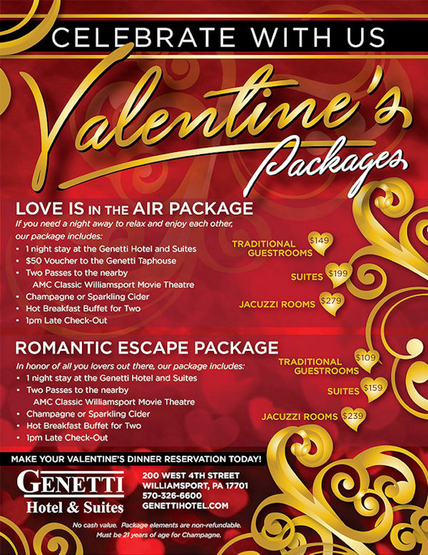 Valentines' Packages at The Genetti Hotel and Suites